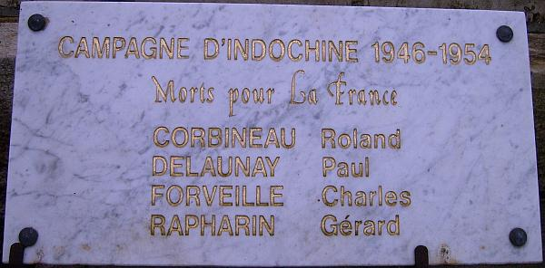 Loudun Plaque Campagne d'Indochine