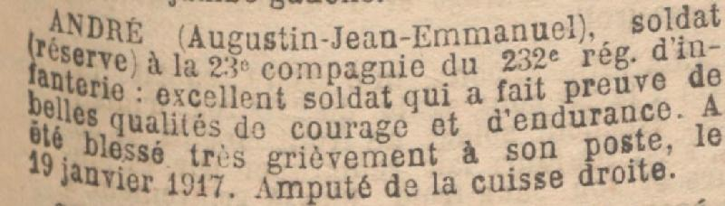 ANDRE Augustin Medaille Militaire JO 21 Mars 1917
