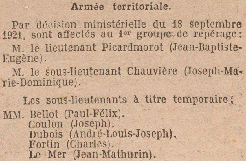 BELLOT Paul 1er Groupe reperage JO 23 septembre 1921