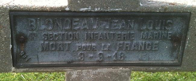 BLONDEAU Jean Tombe Plaque