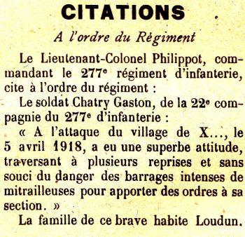 CHATRY Gaston citation JDL 23 06 1918