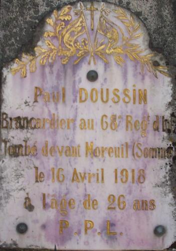 DOUSSIN Paul Tombe Plaque