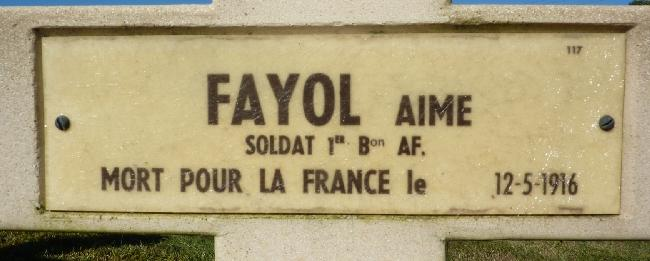Fayol Aime Tombe Plaque