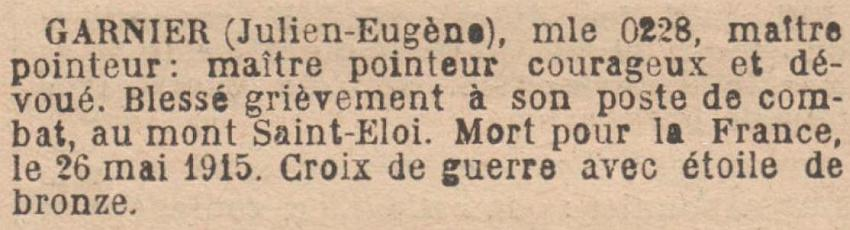 GARNIER Julien MM JO 4 Septembre 1920