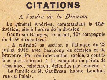 GAUFFREAU Georges Citation JDL 04 08 1918