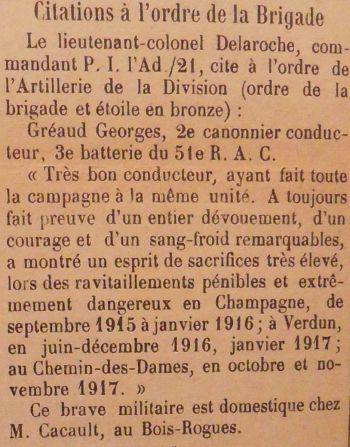 GREAUD Georges Citation JDL 16 02 1919