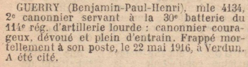 GUERRY Benjamin MM JO 30 Aout 1919