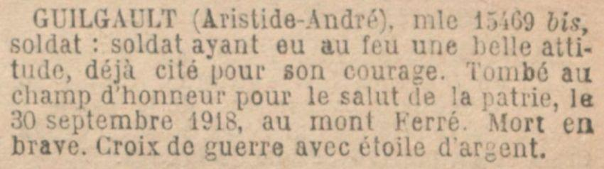 GUILGAULT Aristide MM JO 21 Septembre 1920