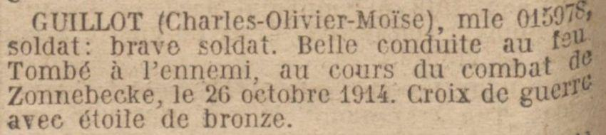 GUILLOT Charles MM JO 25 Mai 1921