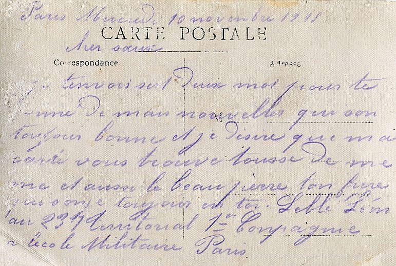 LEBLE Leon Carte 10 Novembre 1915