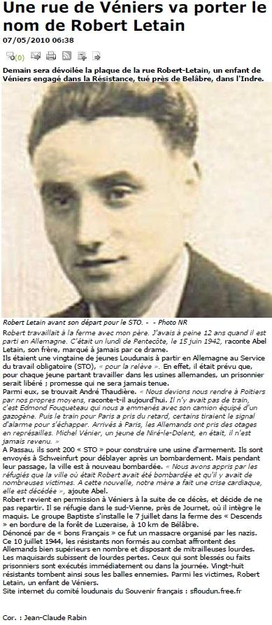 LETAIN Robert - article