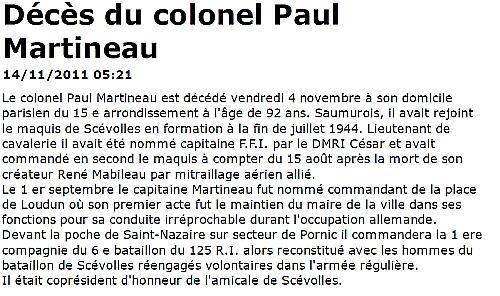 MARTINEAU Paul Deces