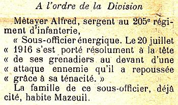 METAYER Alfred Citation JDL 17 12 1916