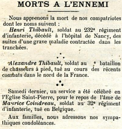 Journal de Loudun 30 Mai 1915