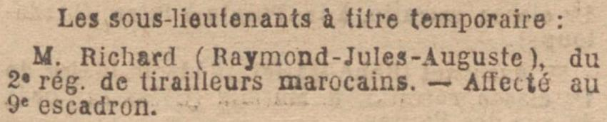 RICHARD Raymond Train Equipages Militaires JO 11 Mai 1921