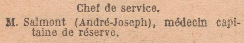 SALMONT Andre Capitaine Chef Service JO 24 Fevrier 1929