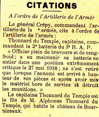 THONNARD DU TEMPLE Rene Citation JDL 01 09 1918